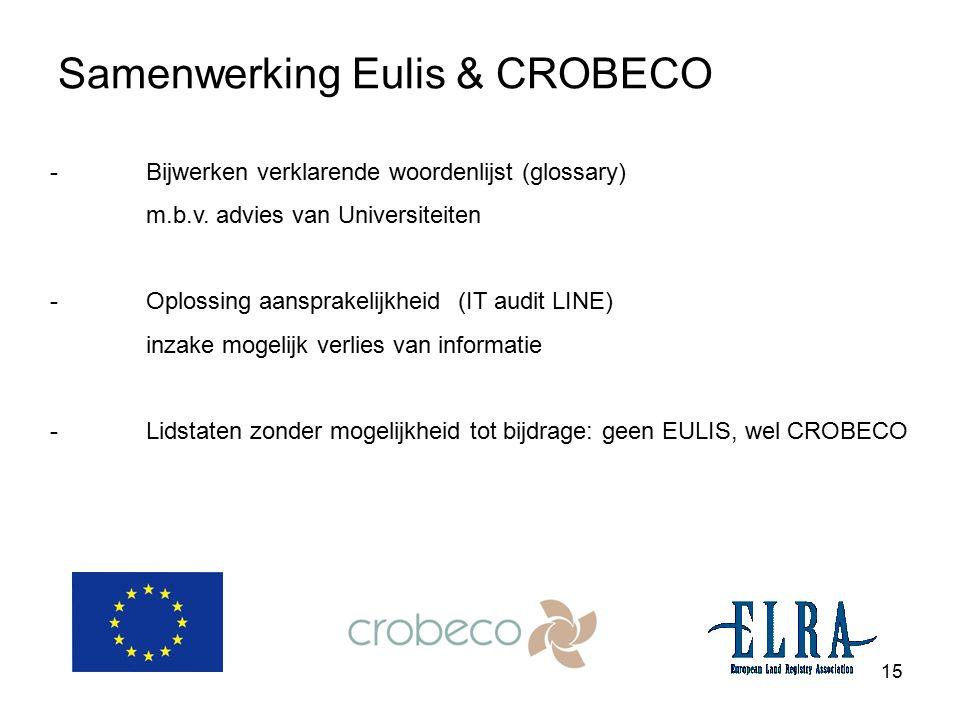15 Samenwerking Eulis & CROBECO - Bijwerken verklarende woordenlijst (glossary) m.b.v. advies van Universiteiten -Oplossing aansprakelijkheid (IT audi