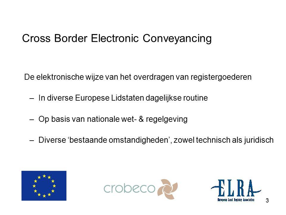 3 Cross Border Electronic Conveyancing De elektronische wijze van het overdragen van registergoederen –In diverse Europese Lidstaten dagelijkse routin