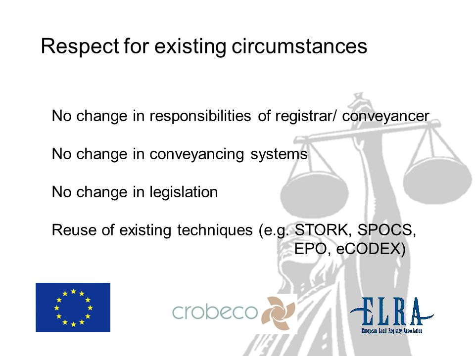 Respect for existing circumstances No change in responsibilities of registrar/ conveyancer No change in conveyancing systems No change in legislation Reuse of existing techniques (e.g.