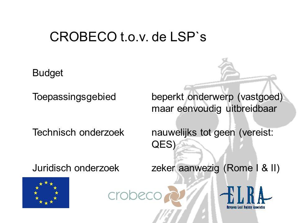 CROBECO t.o.v. de LSP`s Budget Toepassingsgebied beperkt onderwerp (vastgoed) maar eenvoudig uitbreidbaar Technisch onderzoeknauwelijks tot geen (vere