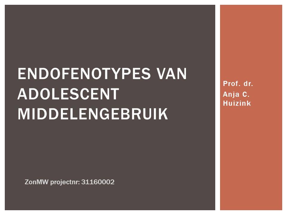 Prof. dr. Anja C. Huizink ENDOFENOTYPES VAN ADOLESCENT MIDDELENGEBRUIK ZonMW projectnr: 31160002