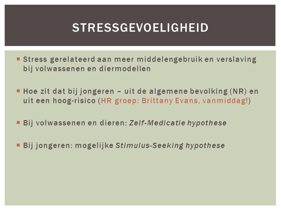  Stress gerelateerd aan meer middelengebruik en verslaving bij volwassenen en diermodellen  Hoe zit dat bij jongeren – uit de algemene bevolking (NR) en uit een hoog-risico (HR groep: Brittany Evans, vanmiddag!)  Bij volwassenen en dieren: Zelf-Medicatie hypothese  Bij jongeren: mogelijke Stimulus-Seeking hypothese STRESSGEVOELIGHEID
