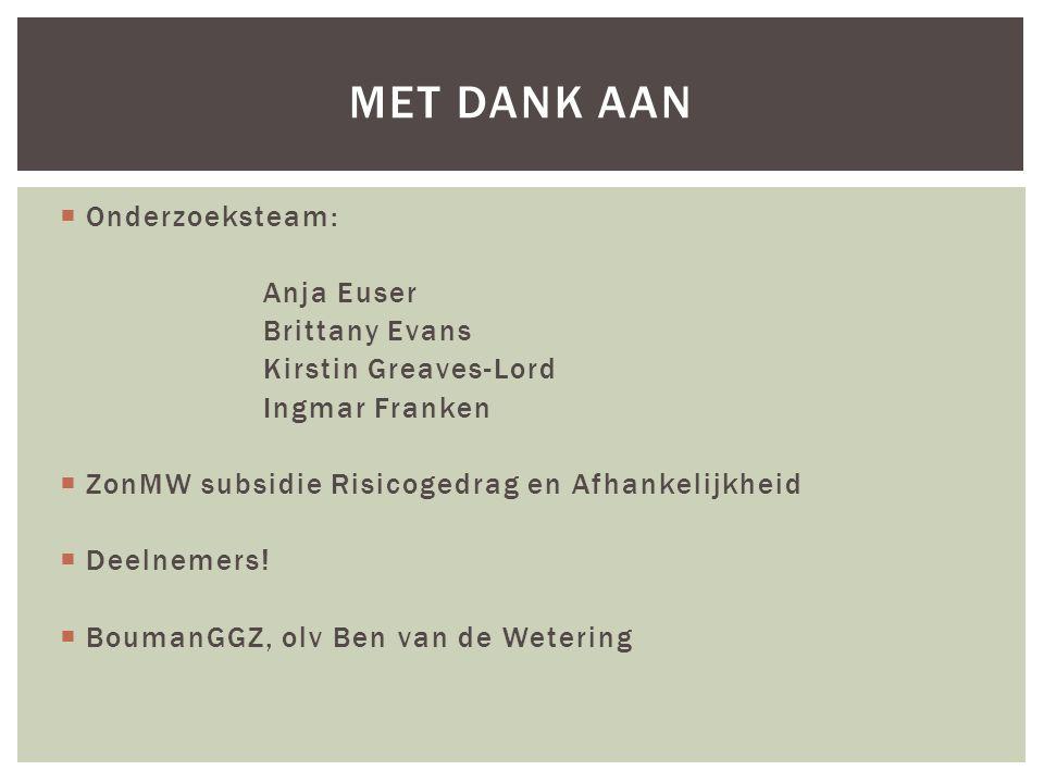  Onderzoeksteam: Anja Euser Brittany Evans Kirstin Greaves-Lord Ingmar Franken  ZonMW subsidie Risicogedrag en Afhankelijkheid  Deelnemers!  Bouma