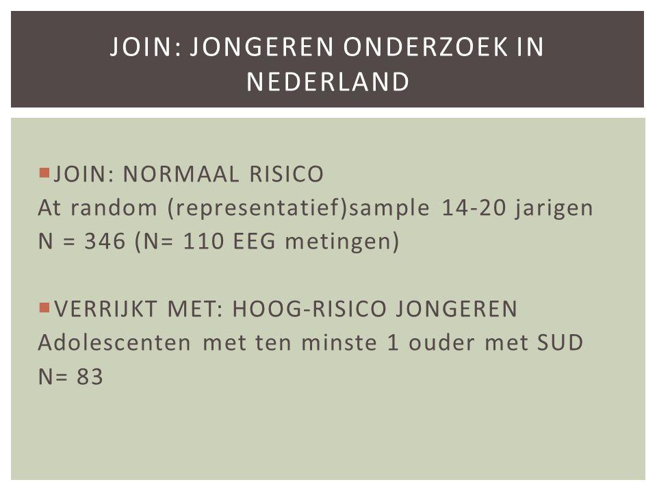  JOIN: NORMAAL RISICO At random (representatief)sample 14-20 jarigen N = 346 (N= 110 EEG metingen)  VERRIJKT MET: HOOG-RISICO JONGEREN Adolescenten met ten minste 1 ouder met SUD N= 83 JOIN: JONGEREN ONDERZOEK IN NEDERLAND