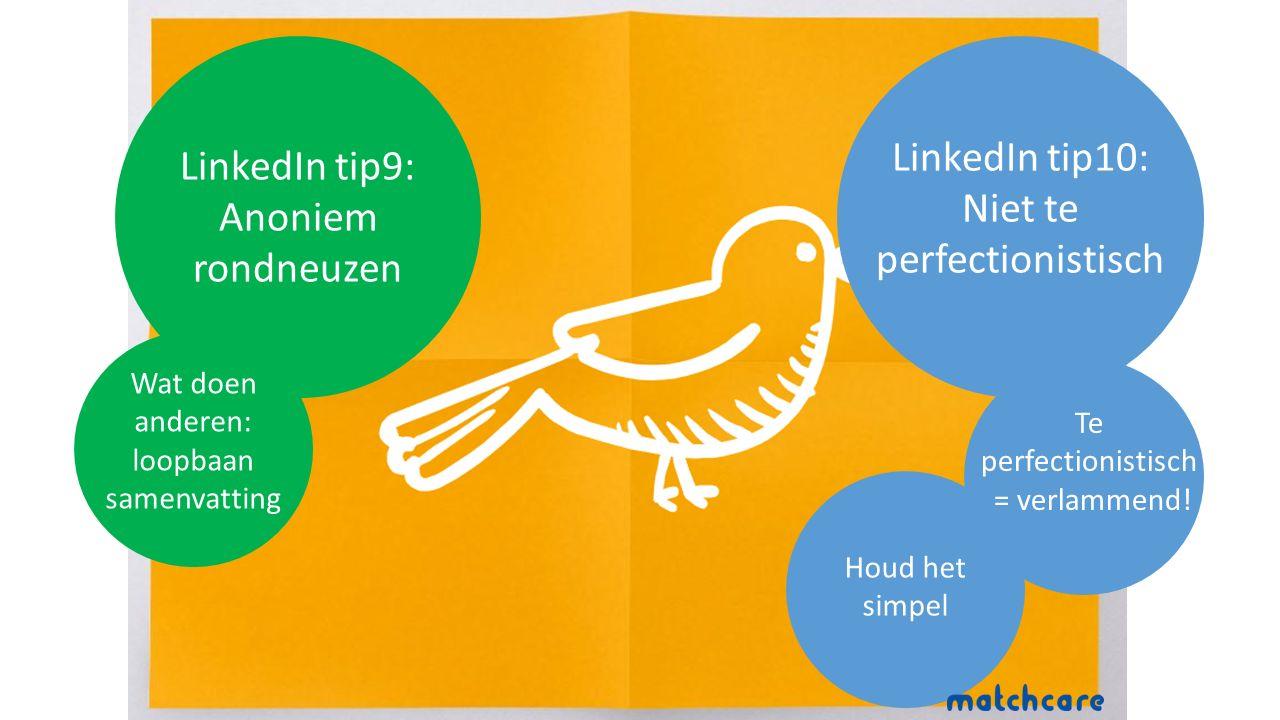 LinkedIn tip9: Anoniem rondneuzen Wat doen anderen: loopbaan samenvatting LinkedIn tip10: Niet te perfectionistisch Houd het simpel Te perfectionistisch = verlammend!