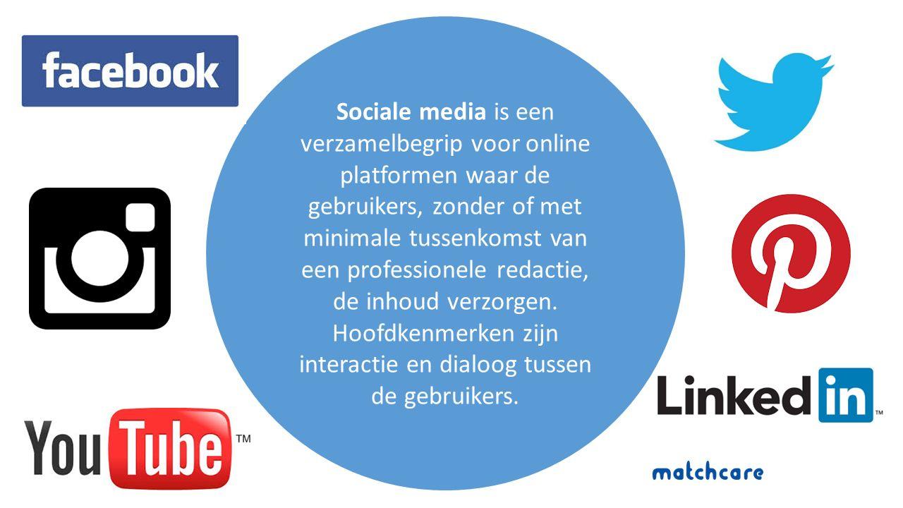 Sociale media is een verzamelbegrip voor online platformen waar de gebruikers, zonder of met minimale tussenkomst van een professionele redactie, de inhoud verzorgen.
