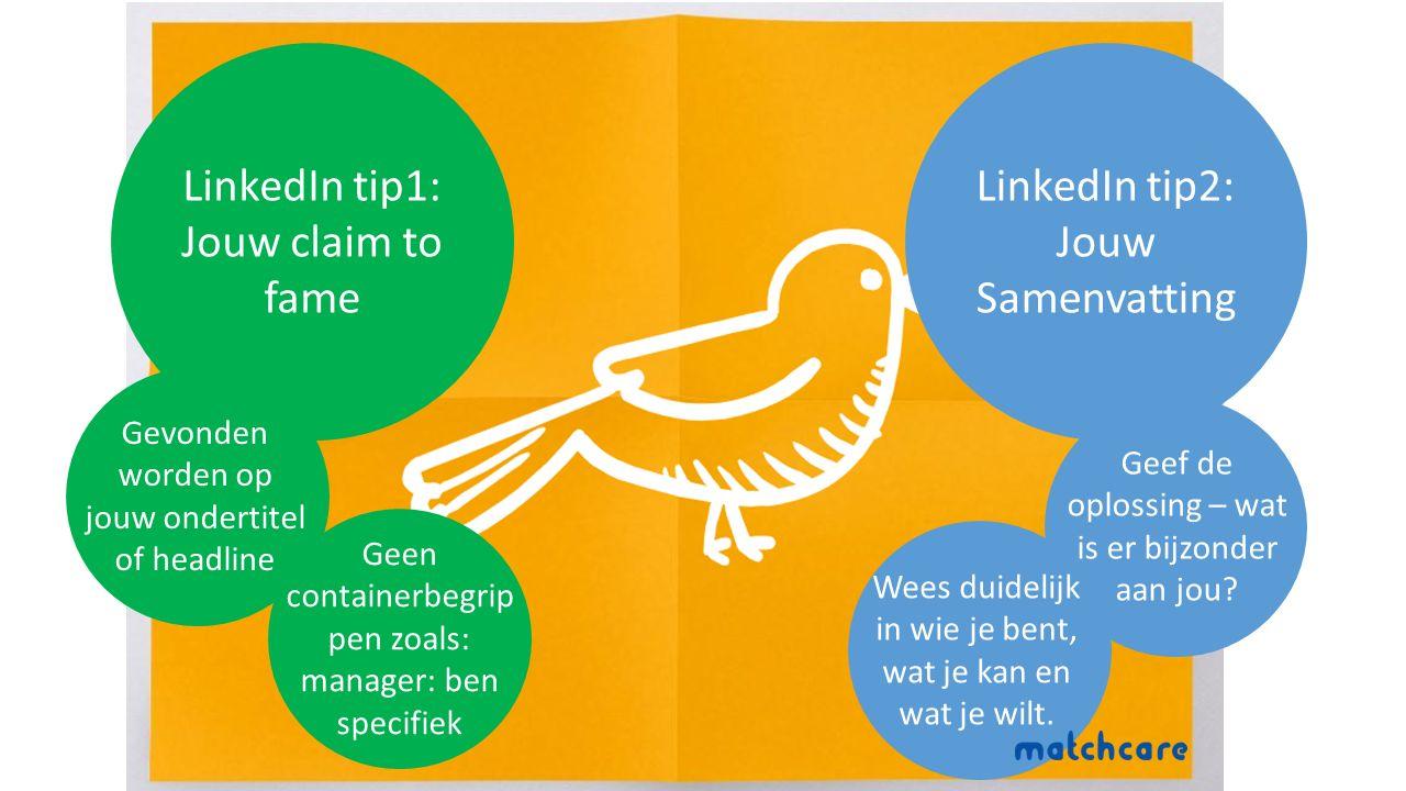 LinkedIn tip1: Jouw claim to fame Gevonden worden op jouw ondertitel of headline Geen containerbegrip pen zoals: manager: ben specifiek LinkedIn tip2: Jouw Samenvatting Geef de oplossing – wat is er bijzonder aan jou.