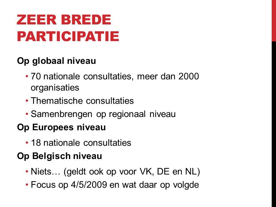 ZEER BREDE PARTICIPATIE Op globaal niveau 70 nationale consultaties, meer dan 2000 organisaties Thematische consultaties Samenbrengen op regionaal niveau Op Europees niveau 18 nationale consultaties Op Belgisch niveau Niets… (geldt ook op voor VK, DE en NL) Focus op 4/5/2009 en wat daar op volgde