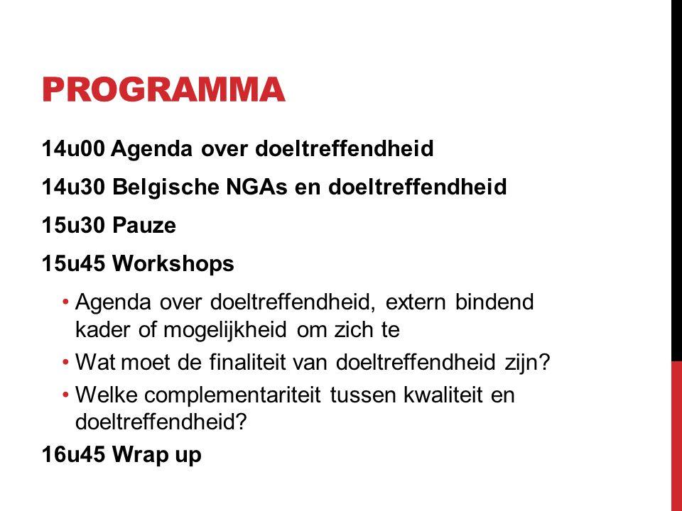 PROGRAMMA 14u00 Agenda over doeltreffendheid 14u30 Belgische NGAs en doeltreffendheid 15u30 Pauze 15u45 Workshops Agenda over doeltreffendheid, extern bindend kader of mogelijkheid om zich te Wat moet de finaliteit van doeltreffendheid zijn.