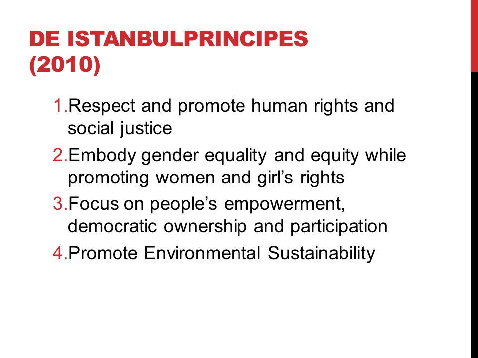 DE ISTANBULPRINCIPES (2010) 1.Respect and promote human rights and social justice 2.Embody gender equality and equity while promoting women and girl's