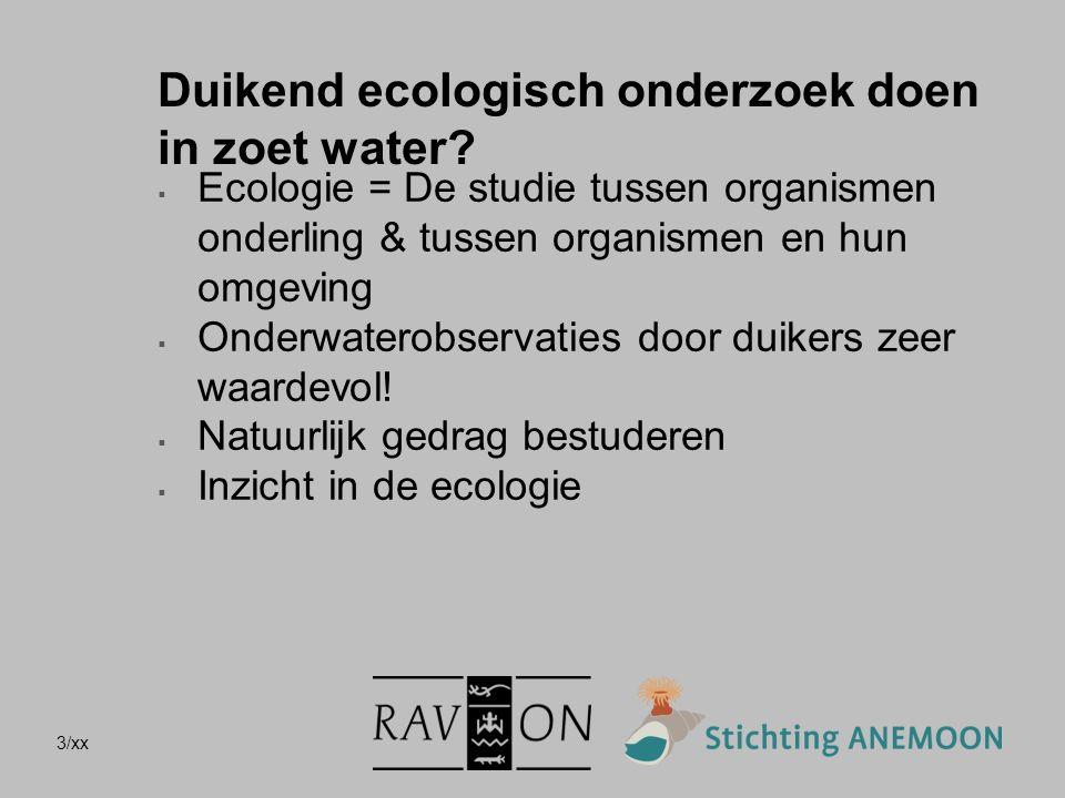 3/xx Duikend ecologisch onderzoek doen in zoet water?  Ecologie = De studie tussen organismen onderling & tussen organismen en hun omgeving  Onderwa
