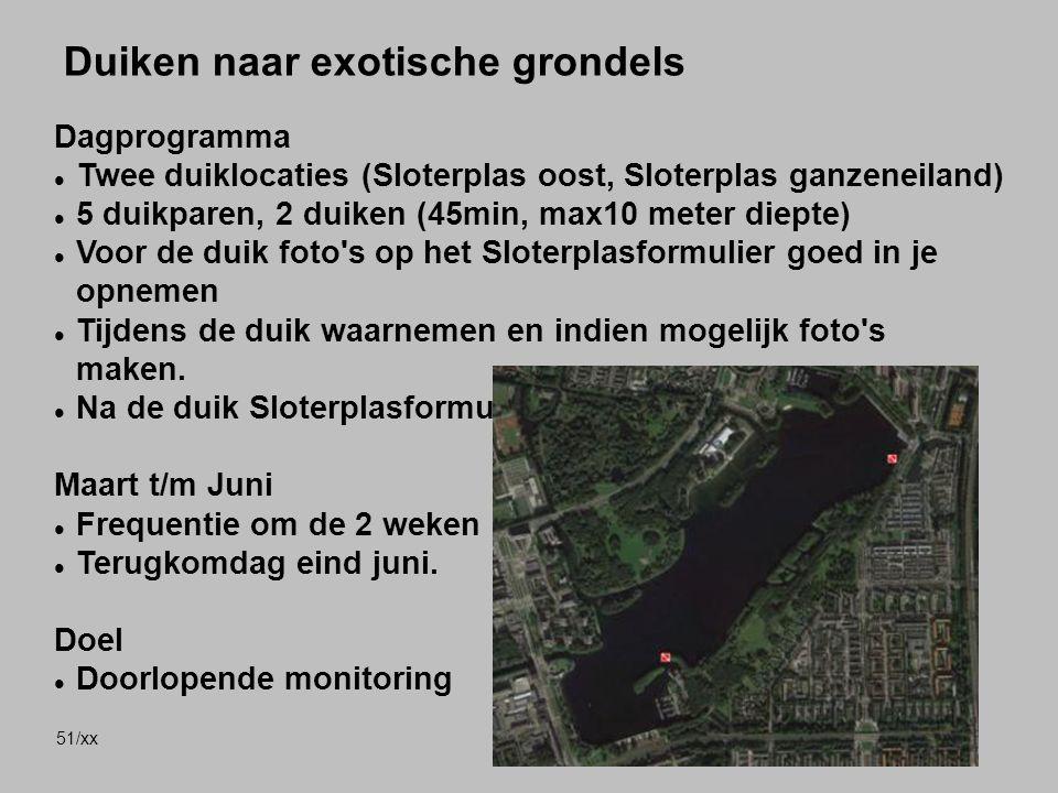 51/xx Duiken naar exotische grondels Dagprogramma Twee duiklocaties (Sloterplas oost, Sloterplas ganzeneiland) 5 duikparen, 2 duiken (45min, max10 met