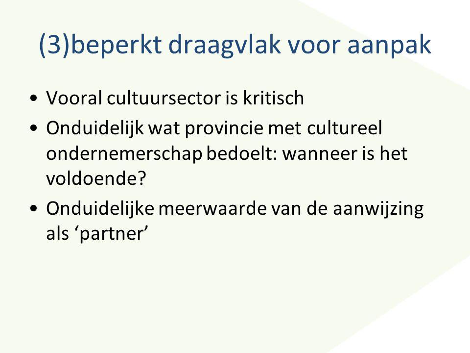 (3)beperkt draagvlak voor aanpak Vooral cultuursector is kritisch Onduidelijk wat provincie met cultureel ondernemerschap bedoelt: wanneer is het vold