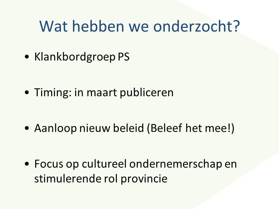 Wat hebben we onderzocht? Klankbordgroep PS Timing: in maart publiceren Aanloop nieuw beleid (Beleef het mee!) Focus op cultureel ondernemerschap en s
