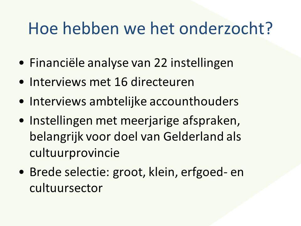 Hoe hebben we het onderzocht? Financiële analyse van 22 instellingen Interviews met 16 directeuren Interviews ambtelijke accounthouders Instellingen m