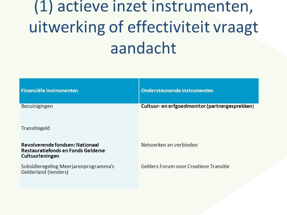 (1) actieve inzet instrumenten, uitwerking of effectiviteit vraagt aandacht Financiële instrumentenOndersteunende instrumenten BezuinigingenCultuur- e