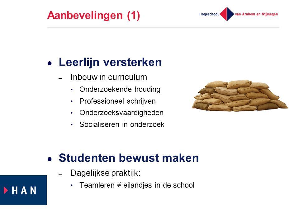 Aanbevelingen (1) Leerlijn versterken – Inbouw in curriculum Onderzoekende houding Professioneel schrijven Onderzoeksvaardigheden Socialiseren in onde