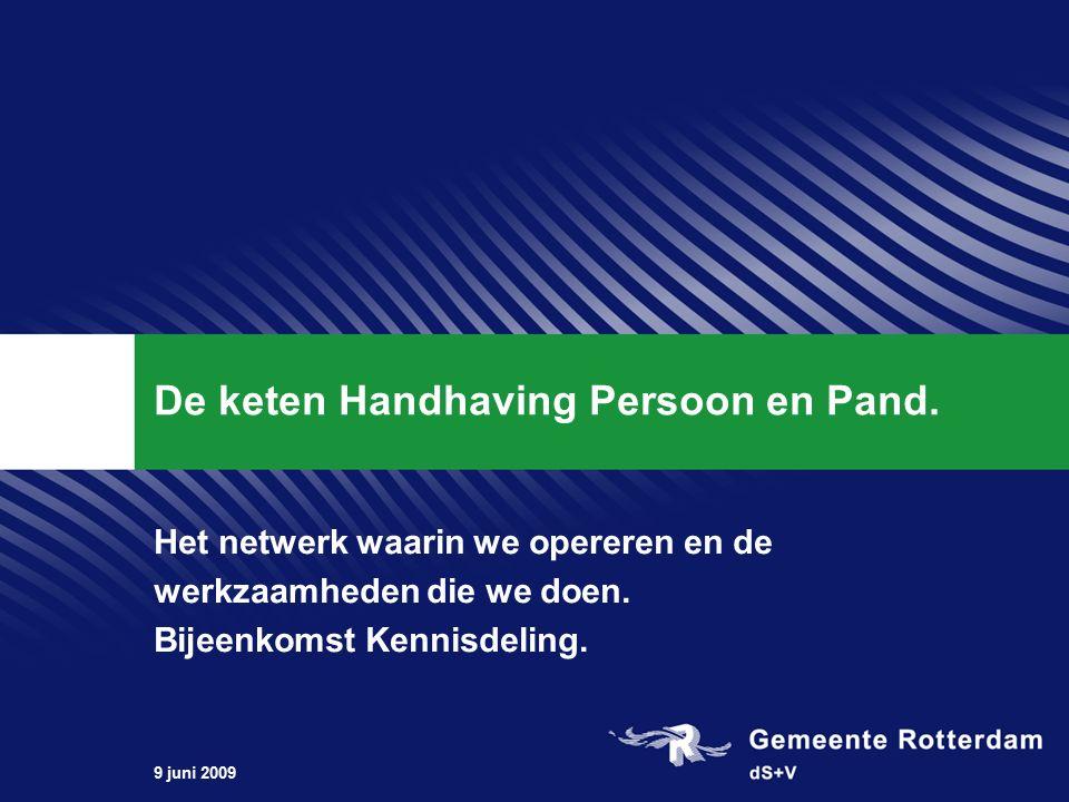 9 juni 2009 De keten Handhaving Persoon en Pand.
