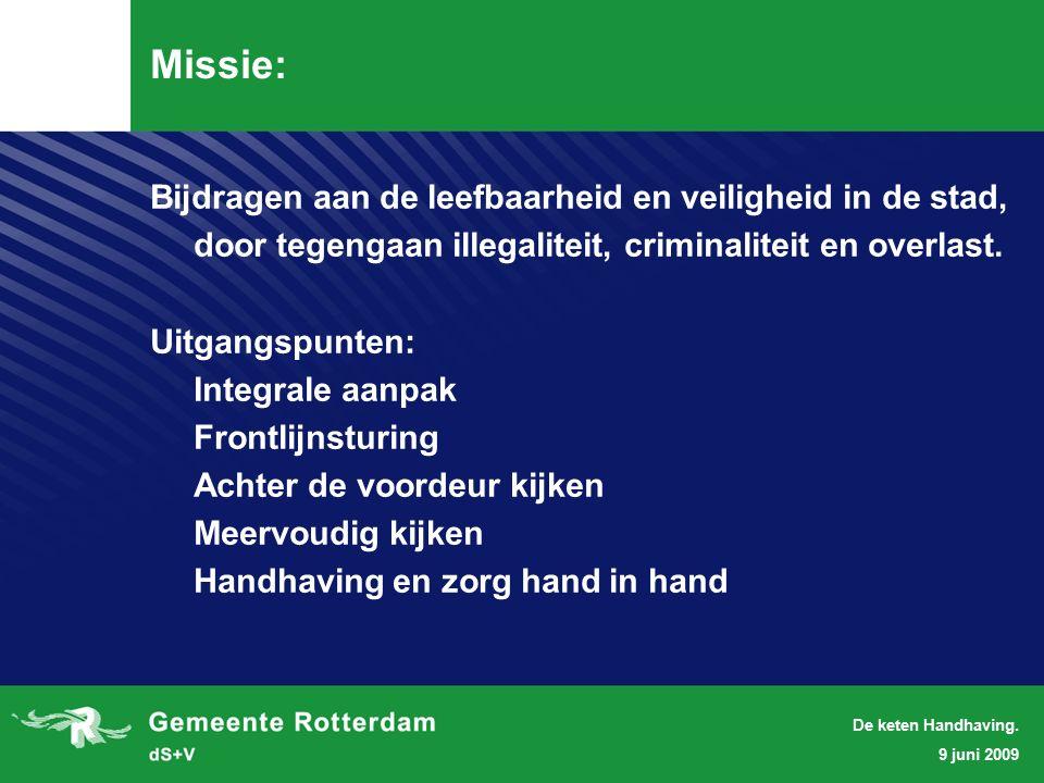 9 juni 2009 De keten Handhaving.