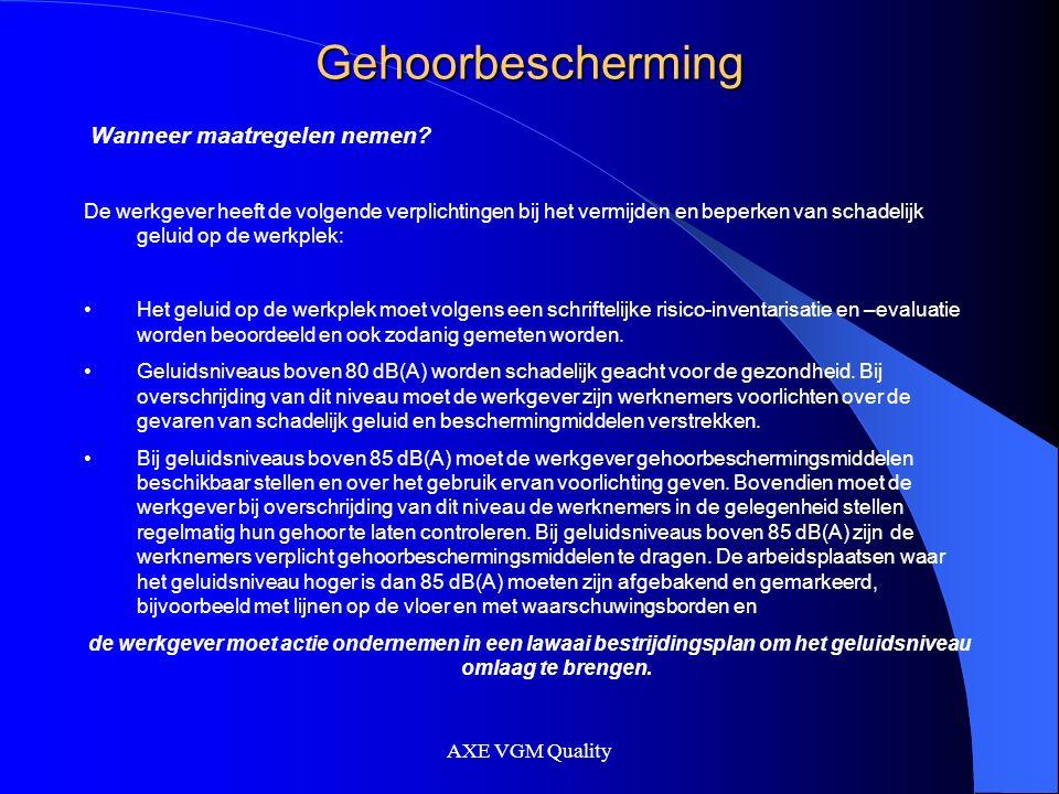 AXE VGM Quality Gehoorbescherming Wanneer is het geluid boven de 80 dB (A).