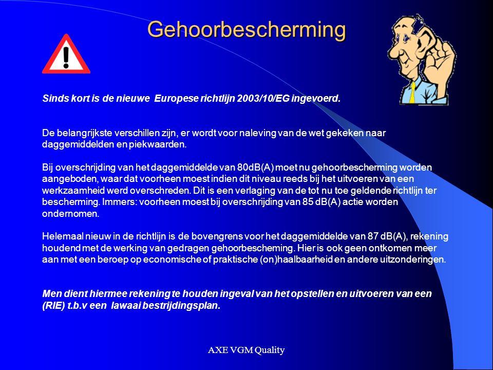 AXE VGM Quality Gehoorbescherming Sinds kort is de nieuwe Europese richtlijn 2003/10/EG ingevoerd.