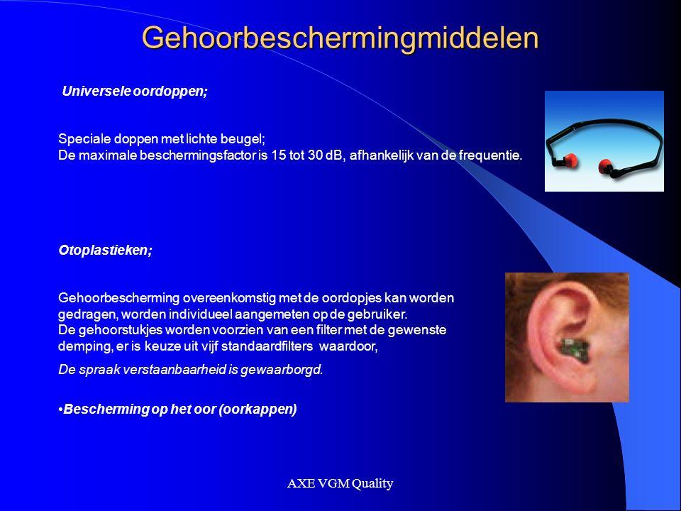 AXE VGM Quality Gehoorbeschermingmiddelen Bescherming op het oor (oorkappen) Oorkappen; Oorkappen bestaan uit twee hardplastic schelpen, voorzien van zachte kunststof afdichtingsringen; de binnenzijde is bekleed met geluidsabsorberend materiaal.