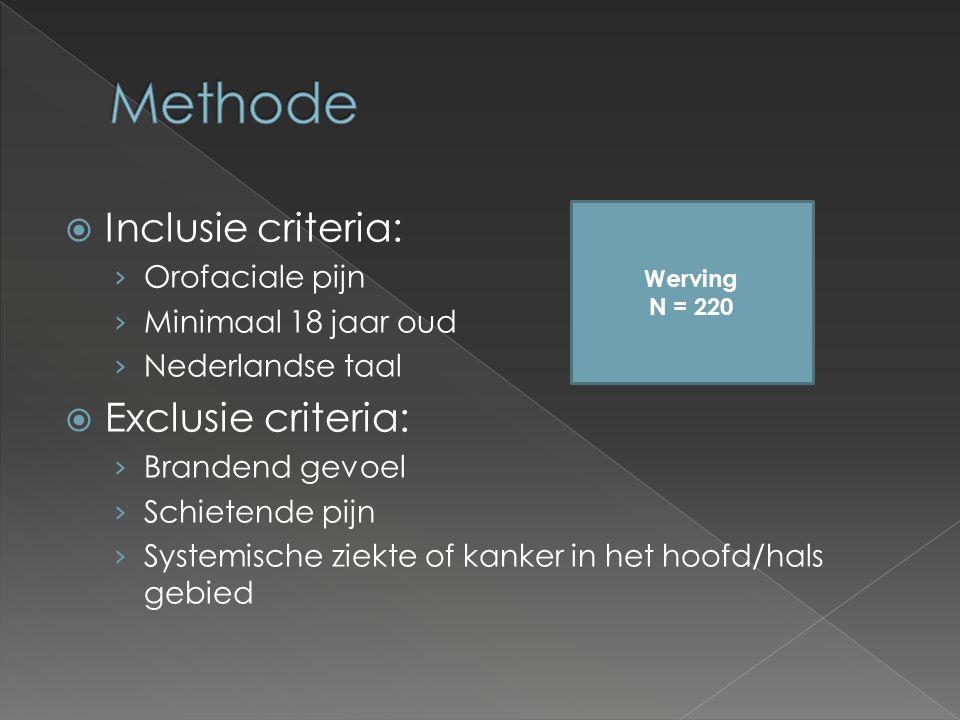 Inclusie criteria: › Orofaciale pijn › Minimaal 18 jaar oud › Nederlandse taal  Exclusie criteria: › Brandend gevoel › Schietende pijn › Systemische ziekte of kanker in het hoofd/hals gebied Werving N = 220