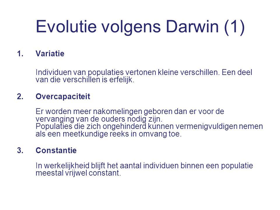 Evolutie volgens Darwin (1) 1.Variatie Individuen van populaties vertonen kleine verschillen.