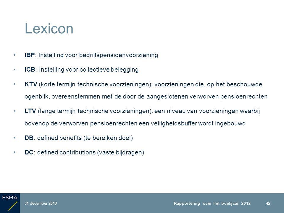 IBP: Instelling voor bedrijfspensioenvoorziening ICB: Instelling voor collectieve belegging KTV (korte termijn technische voorzieningen): voorzieningen die, op het beschouwde ogenblik, overeenstemmen met de door de aangeslotenen verworven pensioenrechten LTV (lange termijn technische voorzieningen): een niveau van voorzieningen waarbij bovenop de verworven pensioenrechten een veiligheidsbuffer wordt ingebouwd DB: defined benefits (te bereiken doel) DC: defined contributions (vaste bijdragen) Lexicon 31 december 2013 42 Rapportering over het boekjaar 2012