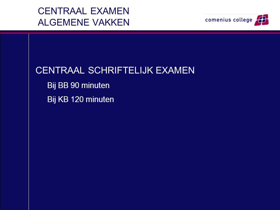 CENTRAAL EXAMEN ALGEMENE VAKKEN CENTRAAL SCHRIFTELIJK EXAMEN Bij BB 90 minuten Bij KB 120 minuten