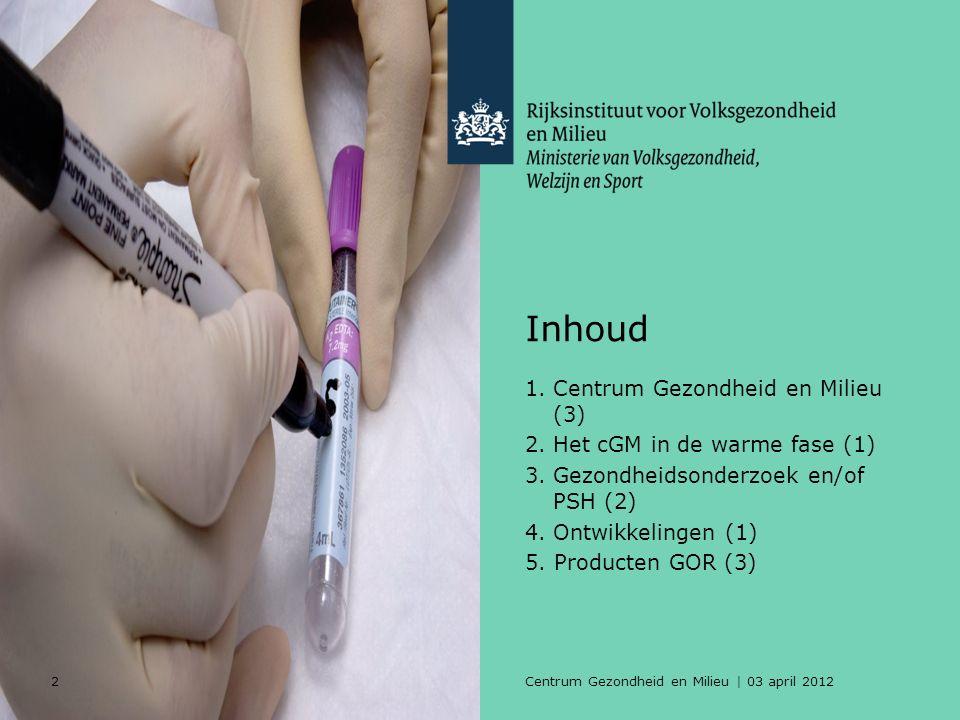 2Centrum Gezondheid en Milieu | 03 april 2012 Inhoud 1.Centrum Gezondheid en Milieu (3) 2.Het cGM in de warme fase (1) 3.Gezondheidsonderzoek en/of PSH (2) 4.Ontwikkelingen (1) 5.