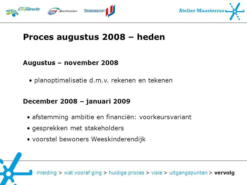 inleiding > wat vooraf ging > huidige proces > visie > uitgangspunten > vervolg Augustus – november 2008 planoptimalisatie d.m.v. rekenen en tekenen D