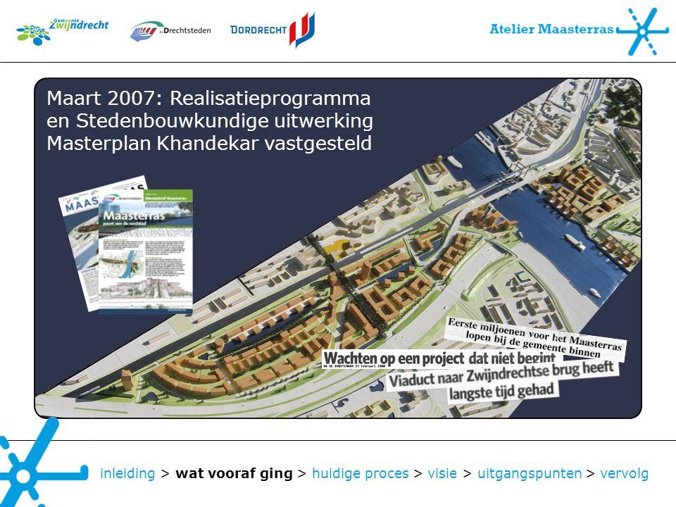 inleiding > wat vooraf ging > huidige proces > visie > uitgangspunten > vervolg Maart 2007: Realisatieprogramma en Stedenbouwkundige uitwerking Master