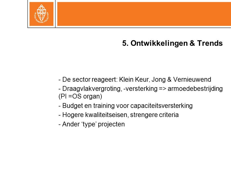 5. Ontwikkelingen & Trends - De sector reageert: Klein Keur, Jong & Vernieuwend - Draagvlakvergroting, -versterking => armoedebestrijding (PI =OS orga