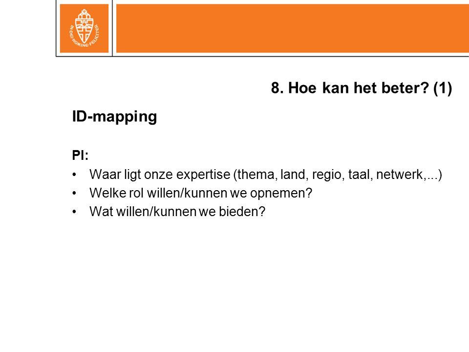 8. Hoe kan het beter? (1) ID-mapping PI: Waar ligt onze expertise (thema, land, regio, taal, netwerk,...) Welke rol willen/kunnen we opnemen? Wat will
