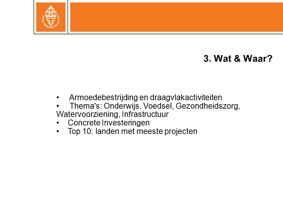 3. Wat & Waar? Armoedebestrijding en draagvlakactiviteiten Thema's: Onderwijs, Voedsel, Gezondheidszorg, Watervoorziening, Infrastructuur Concrete Inv
