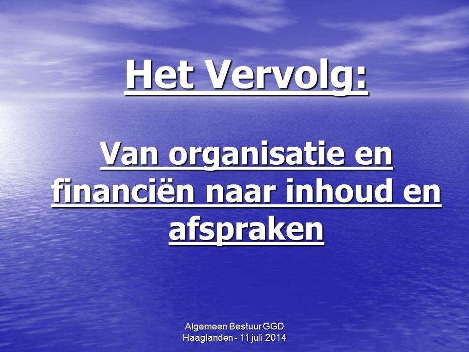Algemeen Bestuur GGD Haaglanden - 11 juli 2014 Het Vervolg: Van organisatie en financiën naar inhoud en afspraken