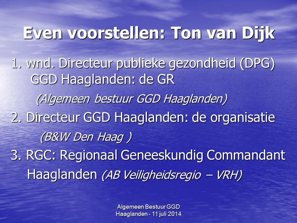 Algemeen Bestuur GGD Haaglanden - 11 juli 2014 Even voorstellen: Ton van Dijk 1.