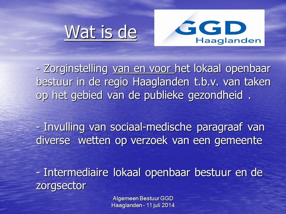 Algemeen Bestuur GGD Haaglanden - 11 juli 2014 Publieke Gezondheid(szorg) (wettekst) De gezondheidsbeschermende en gezondheids- bevorderende maatregelen voor de bevolking of specifieke groepen daaruit, De gezondheidsbeschermende en gezondheids- bevorderende maatregelen voor de bevolking of specifieke groepen daaruit, waaronder begrepen het voorkómen en het vroegtijdig opsporen van ziekten waaronder begrepen het voorkómen en het vroegtijdig opsporen van ziekten DUS: Bewaken-Beschermen-Bevorderen van de gezondheid (zie banners)