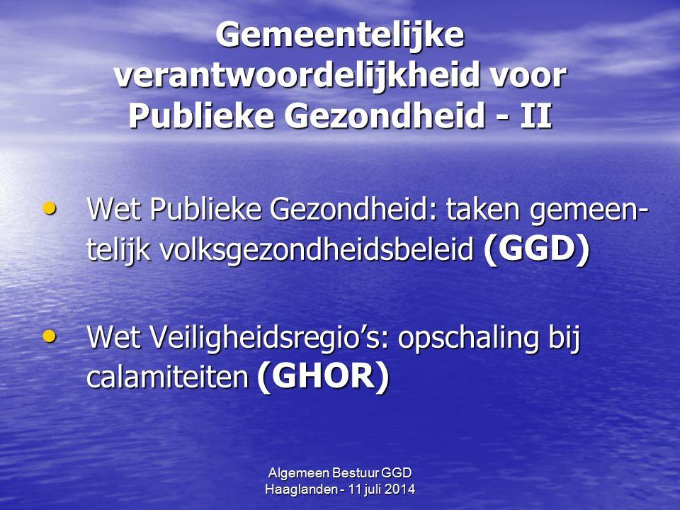 Algemeen Bestuur GGD Haaglanden - 11 juli 2014 Wetgeving (en GGD Hgl) - Wet Publieke gezondheid (WPG) - Wet Veiligheidsregio's (WVR) - Wet Kinderopvang etc.