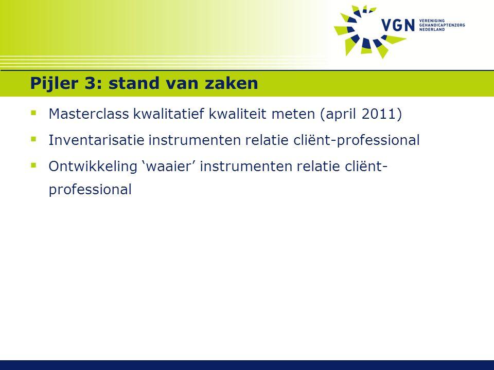 Pijler 3: stand van zaken  Masterclass kwalitatief kwaliteit meten (april 2011)  Inventarisatie instrumenten relatie cliënt-professional  Ontwikkel