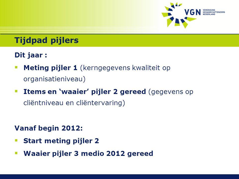 Tijdpad pijlers Dit jaar :  Meting pijler 1 (kerngegevens kwaliteit op organisatieniveau)  Items en 'waaier' pijler 2 gereed (gegevens op cliëntnive
