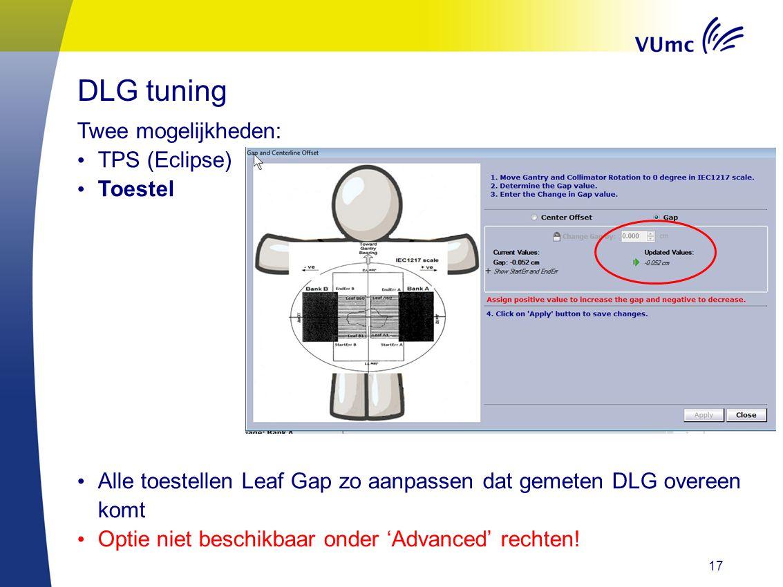 17 Twee mogelijkheden: TPS (Eclipse) Toestel Alle toestellen Leaf Gap zo aanpassen dat gemeten DLG overeen komt Optie niet beschikbaar onder 'Advanced' rechten.