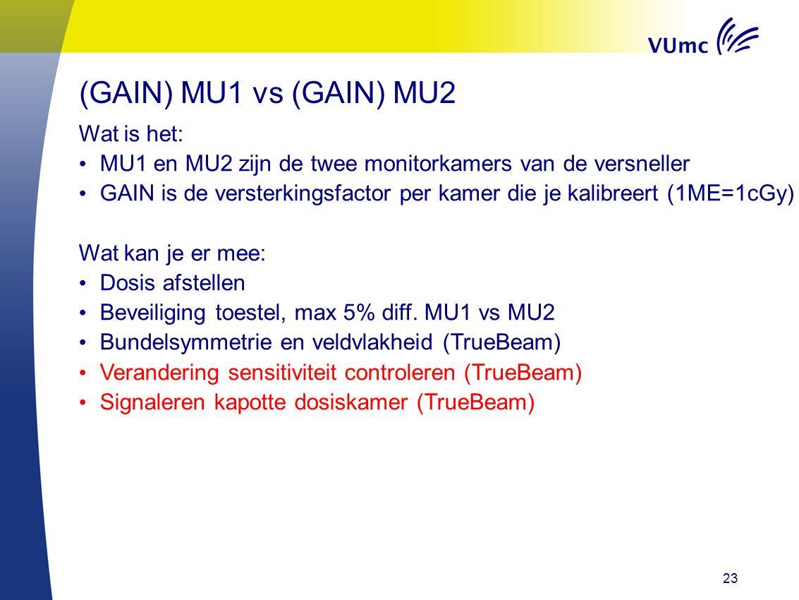 23 Wat is het: MU1 en MU2 zijn de twee monitorkamers van de versneller GAIN is de versterkingsfactor per kamer die je kalibreert (1ME=1cGy) Wat kan je er mee: Dosis afstellen Beveiliging toestel, max 5% diff.