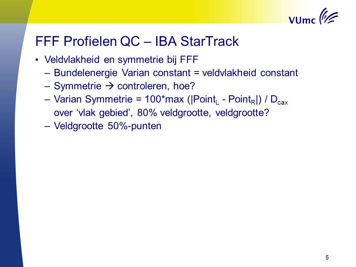 5 Veldvlakheid en symmetrie bij FFF –Bundelenergie Varian constant = veldvlakheid constant –Symmetrie  controleren, hoe.
