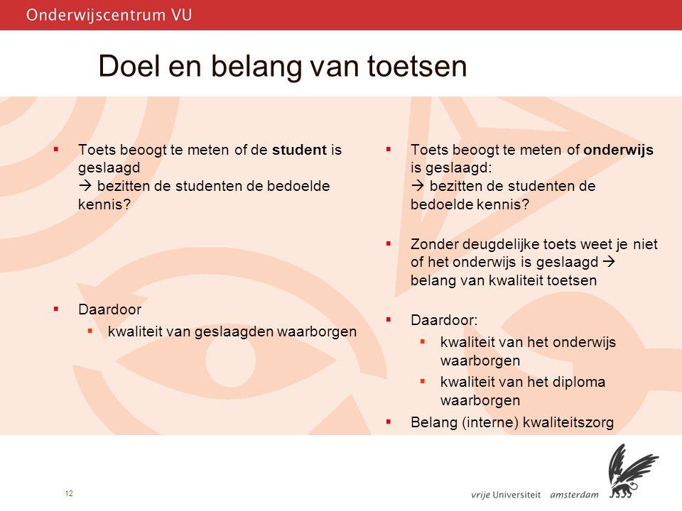 12 Doel en belang van toetsen  Toets beoogt te meten of de student is geslaagd  bezitten de studenten de bedoelde kennis.