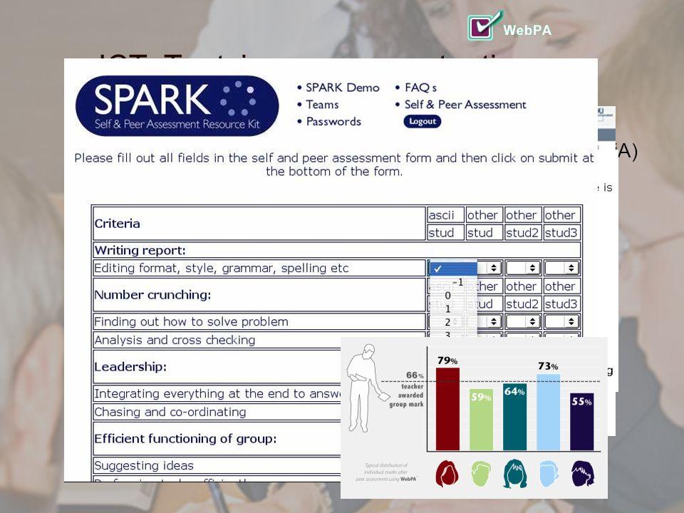 3 ICT: Toetsing van competenties  Veel 'zelftests' op verschillende terreinen via internet (DiA)  360 graden feedback, (MyCQ)  Peer-review beoordeling van eigen handelen (DiviDU)  Peer-review beoordeling van groepswerk (SPARK)  Portfolio