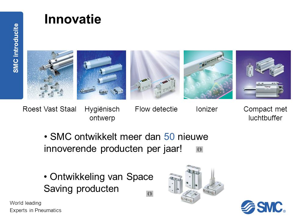 World leading Experts in Pneumatics SMC ontwikkelt meer dan 50 nieuwe innoverende producten per jaar.