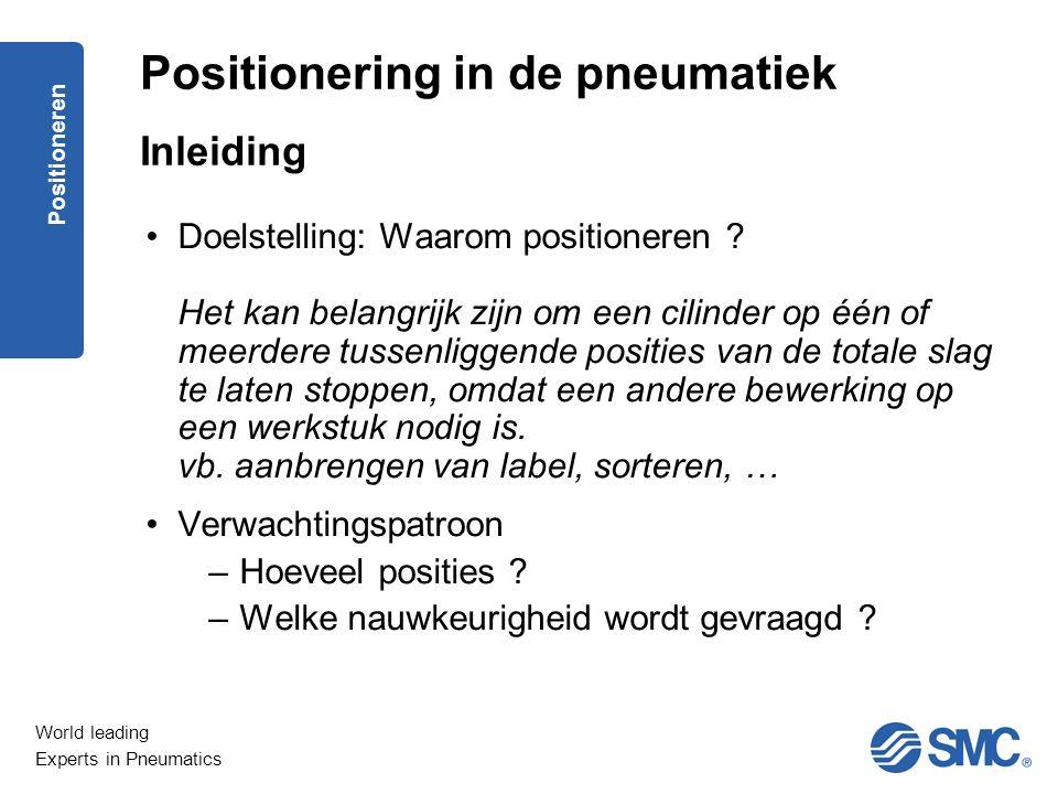 World leading Experts in Pneumatics Positioneren Doelstelling: Waarom positioneren .