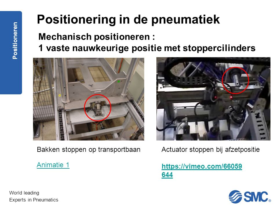 World leading Experts in Pneumatics Positioneren Mechanisch positioneren : 1 vaste nauwkeurige positie met stoppercilinders Positionering in de pneuma